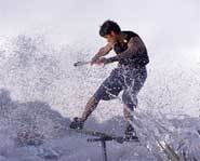 Wakeskating combines the sports of wakeboarding and skateboarding.