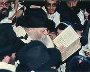Lubavitehr Rebbe during the ceremony of Blessing the Moon, right after Yom Kippur prayers.