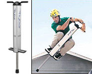 Andy Macdonald goes for a ride on the Flybar pogo stick.