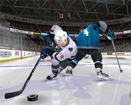 Screenshot of Markus Naslund on EA Sports NHL 2005 for the PS2.