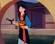 Mulan takes her father's place in the Imperial Army in the Disney DVD.