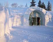 The entrance to the Quebec, Canada Ice Hotel.