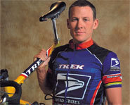 Photo of Lance Armstrong, who won his sixth straight Tour de France in 2004.