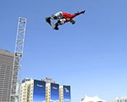 Danny Way gets massive air in this picture of the Big Air Skateboarding event at X Games X.