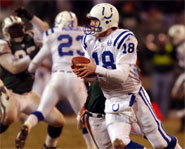 Picture of Peyton Manning of the Indianapolis Colts, playing in an NFL game.