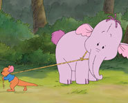 Roo befriends a baby Heffalump in Pooh's Heffalump Movie.