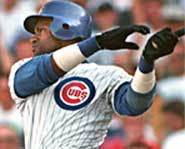 Picture of Sammy Sosa of the Chicago Cubs, who was suspended for seven games for playing baseball with a corked bat.