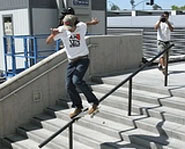 Picture of skateboarder, Eric Koston at the 2004 X Games.