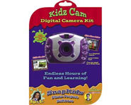 The Kidz Cam Digital Camera Kit comes with a camera and photo editing software.