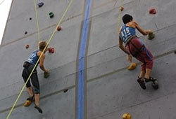 Picture of rock climbers climbing on a climbing wall.