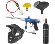 Picture of a spider paintball kit, which includes a marker, mask, goggles and other important paintball equipment.