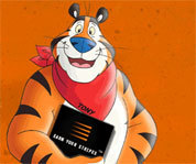 Picture of Tony the Tiger - the loveable and friendly mascot for Kellogg's Frosted Flakes.