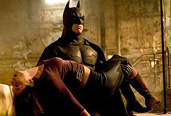 Christian Bale and Katie Holmes star in the new movie Batman Begins.