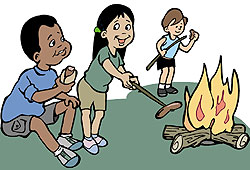 Camp counselors plan fun activities for campers, like horseback riding and campfire games.