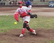 In softball, a pitcher must throw the ball with an underhand motion.