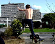 Picture of person trying free running or parkour.