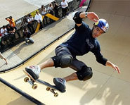 Picture of pro skateboarder Sandros Dias at the Summer X Games.