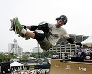 Photo of pro skater Bob Burnquist at the Summer X Games.