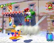 Mario, Yoshi and Princess Peach have to clean up in Super Mario Sunshine.