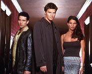 Glenn Quinn, shown on the left, played Doyle on Angel.