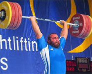 Competitor completes a clean and jerk at the 2003 World Weightlifting Championship in Vancouver.