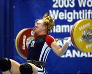 Competitor drops a barbell at the 2003 World Weightlifting Championships in Vancouver.