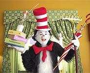 Mike Myers stars as the furry feline in the movie version of Dr. Seuss book, The Cat in the Hat.