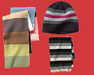Look cool this winter in striped hats and scarves.