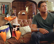 Daffy chills with Brendan Fraser in Looney Tunes Back in Action.