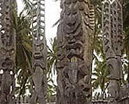Marquesas Islands - tiki statues.