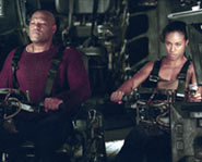 Morpheus and Niobe fight in the battle to save Zion in The Matrix Revolutions.