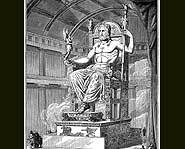 The Statue of Zeus was four stories high.