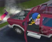 Marge smokes someone in The Simpsons Hit and Run video game for Xbox.
