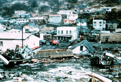 The damage after the earthquake and then tsunami in Alaska in 1964.