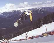 Big air on snowboard.