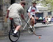 Riding a unicycle is a good workout and requires good balance.