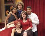 The final five American Idol contestants: Justin Guarini, Kelly Clarkson, Nikki McKibbin, RJ Helton and Tamyra Gray.
