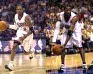 Picture of Allen Iverson doing a crossover.  The braided and tattooed NBA superstar plays basketball for the Philadelphia 76ers.