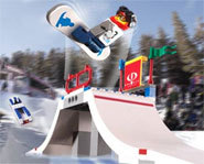 Snowboarding LEGO includes a superpipe, a big air competition and boarder cross.