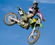 Picture of million-dollar motocross rider, James Bubba Stewart.