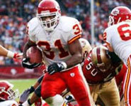 Picture of Kansas City Chiefs Running Back Priest Holmes.