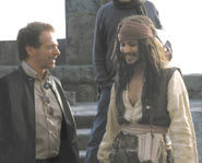 Johnny Depp with director Gore Verbinski on the set of Pirates of the Caribbean.