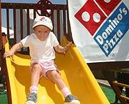 Three year-old Jessica recieved a new playground from Dominos Pizza for her wish.