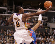 Picture of Kobe Bryant, basketball star of the LA Lakers.