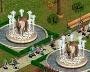 Elephants make fountains into funtains.