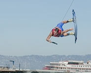 Picture of wakeboarder trying a trick during the 2004 Summer X Games.