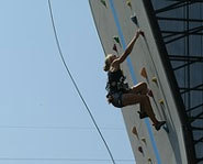 Photo of Tori Allen rock climbing at the 2002 X Games.