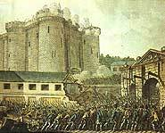 The storming of the Bastille in France.
