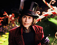 Johnny Depp plays Willy Wonka in Tim Burton's Charlie and the Chocolate Factory.