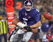 New York Giants football player Kerry Collins holds the NFL record for most fumbles.